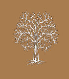 Η μονότονη σκιαγραφία του δέντρου διανυσματική απεικόνιση