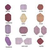 Η μορφή και το χρώμα των κρυστάλλων ορισμένων ουσιών Στοκ Φωτογραφίες