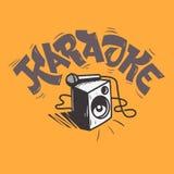 Η μουσική εγγραφής καραόκε σχεδιάζει με έναν ομιλητή και ένα μικρόφωνο Στοκ εικόνα με δικαίωμα ελεύθερης χρήσης