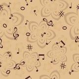 Η μουσική σημειώνει και ανθίζει το άνευ ραφής υπόβαθρο Στοκ Εικόνες