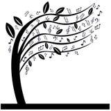 Η μουσική σημειώνει το δέντρο Στοκ Φωτογραφία