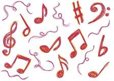 Η μουσική σημειώνει doodles Στοκ Εικόνα