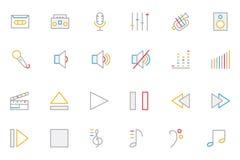 Η μουσική χρωμάτισε τα διανυσματικά εικονίδια 1 περιλήψεων Στοκ εικόνες με δικαίωμα ελεύθερης χρήσης