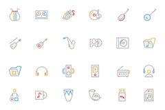 Η μουσική χρωμάτισε τα διανυσματικά εικονίδια 3 περιλήψεων Στοκ φωτογραφία με δικαίωμα ελεύθερης χρήσης