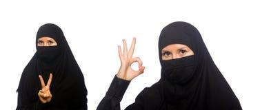 Η μουσουλμανική γυναίκα που απομονώνεται στο λευκό στοκ εικόνα