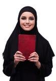 Η μουσουλμανική γυναίκα φόρεμα που απομονώνεται στο μαύρο στο λευκό Στοκ εικόνα με δικαίωμα ελεύθερης χρήσης
