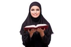 Η μουσουλμανική γυναίκα φόρεμα που απομονώνεται στο μαύρο στο λευκό Στοκ Φωτογραφία