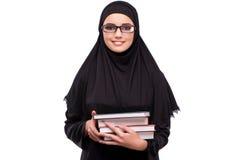 Η μουσουλμανική γυναίκα φόρεμα που απομονώνεται στο μαύρο στο λευκό Στοκ Εικόνα