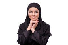 Η μουσουλμανική γυναίκα φόρεμα που απομονώνεται στο μαύρο στο λευκό Στοκ Φωτογραφίες