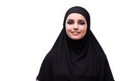 Η μουσουλμανική γυναίκα φόρεμα που απομονώνεται στο μαύρο στο λευκό Στοκ φωτογραφία με δικαίωμα ελεύθερης χρήσης