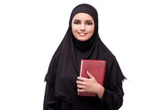 Η μουσουλμανική γυναίκα φόρεμα που απομονώνεται στο μαύρο στο λευκό Στοκ Εικόνες