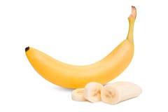η μπανάνα ανασκόπησης που ψαλιδίζει το εύκολο αρχείο περιλαμβάνει το μονοπάτι ώριμο στην άσπρη εργασία Πολτός της μπανάνας στοκ εικόνα με δικαίωμα ελεύθερης χρήσης
