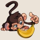 Η μπανάνα πιθήκων κινούμενων σχεδίων εξετάζει απεικόνιση αποθεμάτων