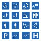 Η μπλε τετραγωνική αναπηρία υπογράφει το διανυσματικό σύνολο διανυσματική απεικόνιση