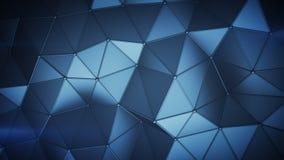 Η μπλε χαμηλή πολυ κατασκευή με τις γραμμές στις άκρες αφαιρεί το τρισδιάστατο rende απεικόνιση αποθεμάτων