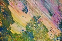 Η μπλε χρυσή ρόδινη πράσινη μαλακή δομή watercolor χρωμάτων, αφαιρεί το ζωηρό υπόβαθρο Στοκ εικόνα με δικαίωμα ελεύθερης χρήσης