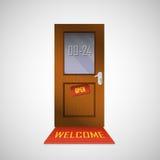 Η μπροστινή πόρτα είναι ανοικτή γύρω από το ρολόι με ένα σημάδι Στοκ Φωτογραφίες
