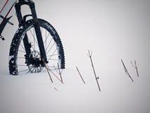 Η μπροστινή ρόδα της παραμονής ποδηλάτων βουνών στο χιόνι σκονών Χαμένη πορεία Στοκ εικόνα με δικαίωμα ελεύθερης χρήσης