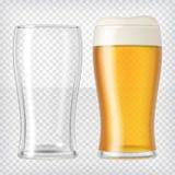 η μπύρα ήφρισε τα πλήρη γυαλιά ένα δύο γυαλιού επάνω διανυσματική απεικόνιση