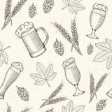 Η μπύρα αντιτίθεται συρμένο χέρι άνευ ραφής σχέδιο απεικόνιση αποθεμάτων