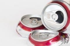 Η μπύρα αργιλίου μπορεί συμπιεσμένος για ανακύκλωσης στοκ εικόνα με δικαίωμα ελεύθερης χρήσης