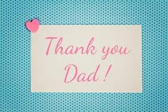 Η μπλε ευχετήρια κάρτα σας ευχαριστεί μπαμπάς Στοκ εικόνα με δικαίωμα ελεύθερης χρήσης