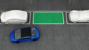 Η μπλε ηλεκτρική οδήγηση αυτοκινήτων στο χώρο στάθμευσης που πλοηγείται με το χώρο στάθμευσης βοηθά το σύστημα ελεύθερη απεικόνιση δικαιώματος