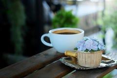 Η μπλε κρέμα σχεδίου cupcake όπως το μπλε λουλούδι Hydrangea εξυπηρέτησε με τον καυτό μαύρο καφέ στο ξύλινο επιτραπέζιο υπόβαθρο Στοκ Εικόνες