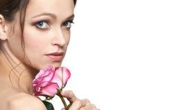 η μόδα προσώπου ομορφιάς αποτελεί τη γυναίκα στοκ εικόνα