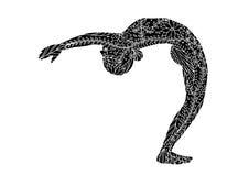 Η μόνιμη μισή πίσω κάμψη φεγγαριών θέτει τη γιόγκα 7 διανυσματικό λουλούδι chakra απεικόνιση αποθεμάτων