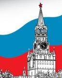 Η Μόσχα Κρεμλίνο. Σημαία Russia.Vector Στοκ Εικόνες