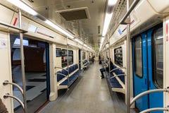 Η Μόσχα, Ρωσία μπορεί 26, εσωτερικό του 2019 του υπόγειου τρένου στοκ εικόνα