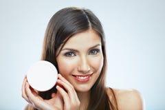 η μόδα προσώπου ομορφιάς αποτελεί τη γυναίκα Καλλυντική φροντίδα δέρματος Στοκ φωτογραφία με δικαίωμα ελεύθερης χρήσης