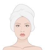 η μόδα προσώπου ομορφιάς αποτελεί τη γυναίκα Στοκ εικόνα με δικαίωμα ελεύθερης χρήσης