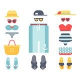 Η μόδα υφασμάτων μπικινιών Beachwear φαίνεται ελαφρύ διάνυσμα ενδυμάτων ομορφιάς θάλασσας συλλογής γυναικών τρόπου ζωής διακοπών  Στοκ εικόνα με δικαίωμα ελεύθερης χρήσης