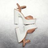 Η μόδα υψηλή βάζει τακούνια στα παπούτσια στο κατασκευασμένο ασημένιο υπόβαθρο Στοκ Εικόνες