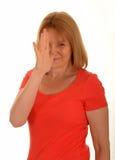 Η μύτη γυναικών επιπλήττει τη χειρονομία Στοκ φωτογραφίες με δικαίωμα ελεύθερης χρήσης