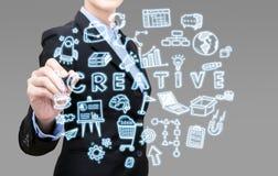 Η νέα έξυπνη επιχειρησιακή γυναίκα γράφει τη δημιουργική επιχειρησιακή ιδέα Στοκ Φωτογραφίες