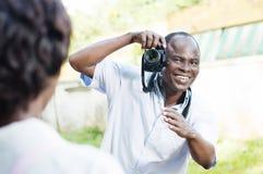 Η νέα λήψη φωτογράφων θέτει στο πρότυπό του Στοκ Εικόνες