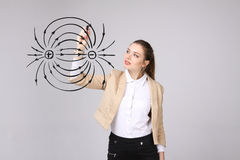 Η νέα γυναίκα, δάσκαλος φυσικής σύρει ένα διάγραμμα του ηλεκτρικού πεδίου στοκ φωτογραφία