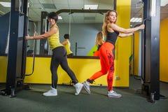 Η νέα γυναίκα ικανότητας δύο εκτελεί την άσκηση με τη διασταύρωση καλωδίων άσκηση-μηχανών στη γυμναστική, οριζόντια φωτογραφία Στοκ φωτογραφία με δικαίωμα ελεύθερης χρήσης