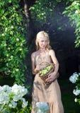 Η νέα γυναίκα με δαπάνες μιας τις μακροχρόνιες δίκαιες τρίχας με ένα καλάθι των πράσινων μήλων ενάντια σε έναν κήπο Apple-δέντρων Στοκ φωτογραφία με δικαίωμα ελεύθερης χρήσης