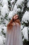 Η νέα γυναίκα με μακρυμάλλη το χειμώνα, με τον πολύ άσπρο πάγο φορεμάτων στο χιόνι παγώνει το χειμώνα μπροστά από τα χιονισμένα δ στοκ φωτογραφία