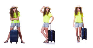 Η νέα γυναίκα με τη βαλίτσα που απομονώνεται στο λευκό Στοκ Εικόνες