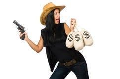 Η νέα γυναίκα με τους σάκους πυροβόλων όπλων και χρημάτων Στοκ Εικόνες