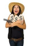 Η νέα γυναίκα με τους σάκους πυροβόλων όπλων και χρημάτων Στοκ εικόνα με δικαίωμα ελεύθερης χρήσης