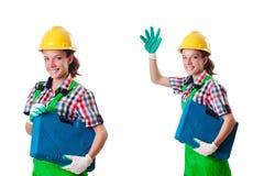 Η νέα γυναίκα με το κουτί εργαλείων στο λευκό Στοκ Φωτογραφίες