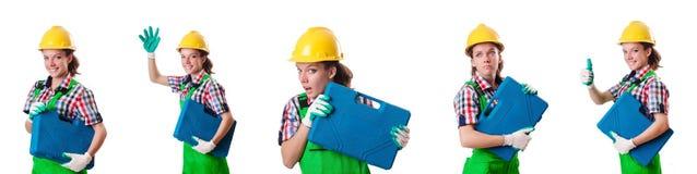 Η νέα γυναίκα με το κουτί εργαλείων στο λευκό Στοκ εικόνες με δικαίωμα ελεύθερης χρήσης