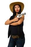 Η νέα γυναίκα με το πυροβόλο όπλο που απομονώνεται στο λευκό Στοκ Εικόνα