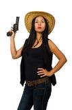 Η νέα γυναίκα με το πυροβόλο όπλο που απομονώνεται στο λευκό Στοκ Εικόνες
